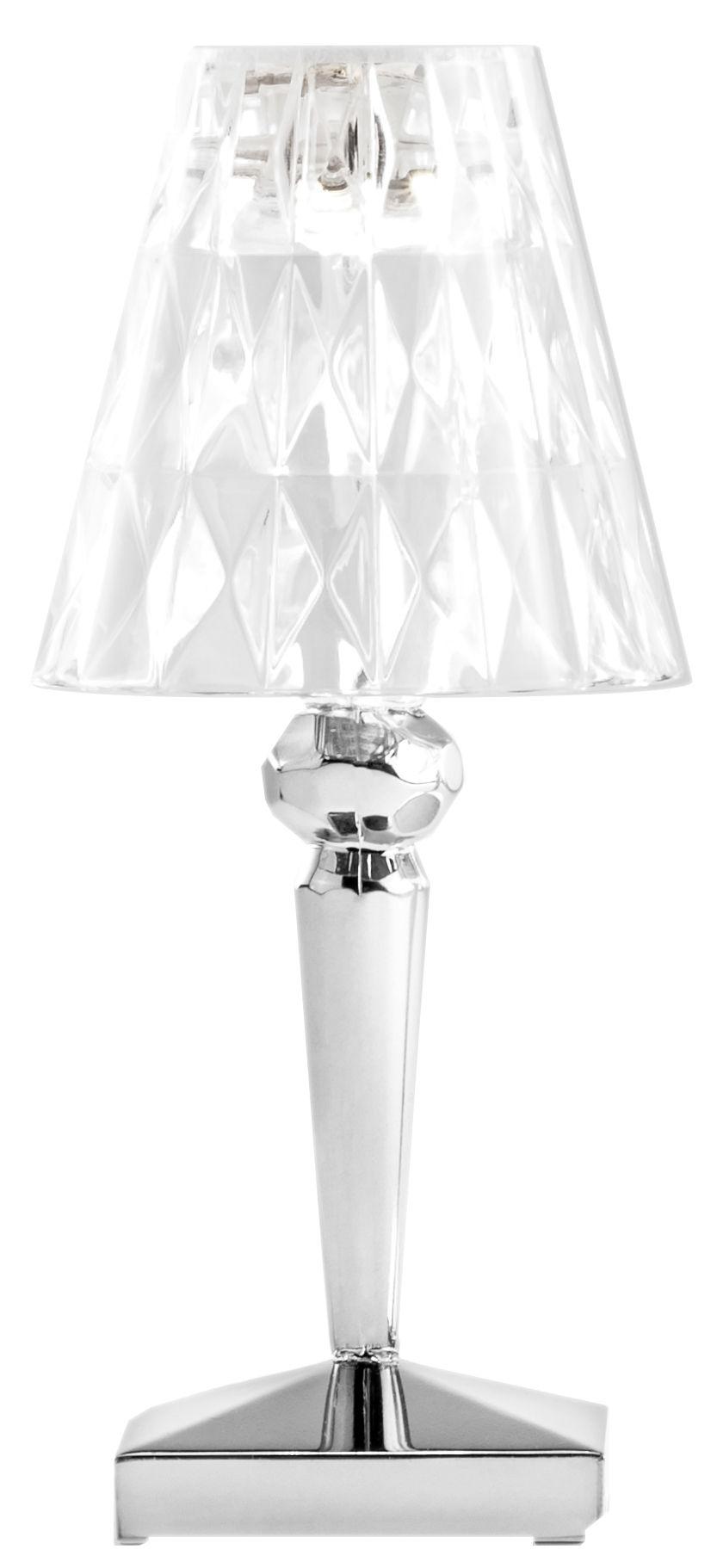 Leuchten - Tischleuchten - Battery LED Lampe ohne Kabel / mit USB-Ladeport - Kartell - Chrom-glänzend - PMMA