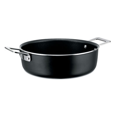 Kitchenware - Pots & Pans - Pots&Pans Low casserole - / Ø 24 cm - All heat sources including induction by A di Alessi - Black - 100% recycled aluminium, Magnetic steel