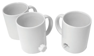 Tableware - Coffee Mugs & Tea Cups - Link mugs Mug - Set of 3 by Thelermont Hupton - White - Fired clay