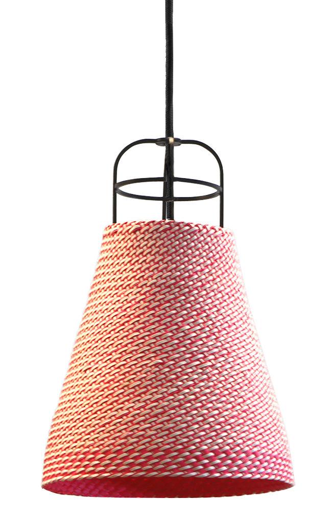 Lighting - Pendant Lighting - Sarn 2 Pendant - Ø 18 cm by Spécimen Editions - Pink - Braided palm, Steel