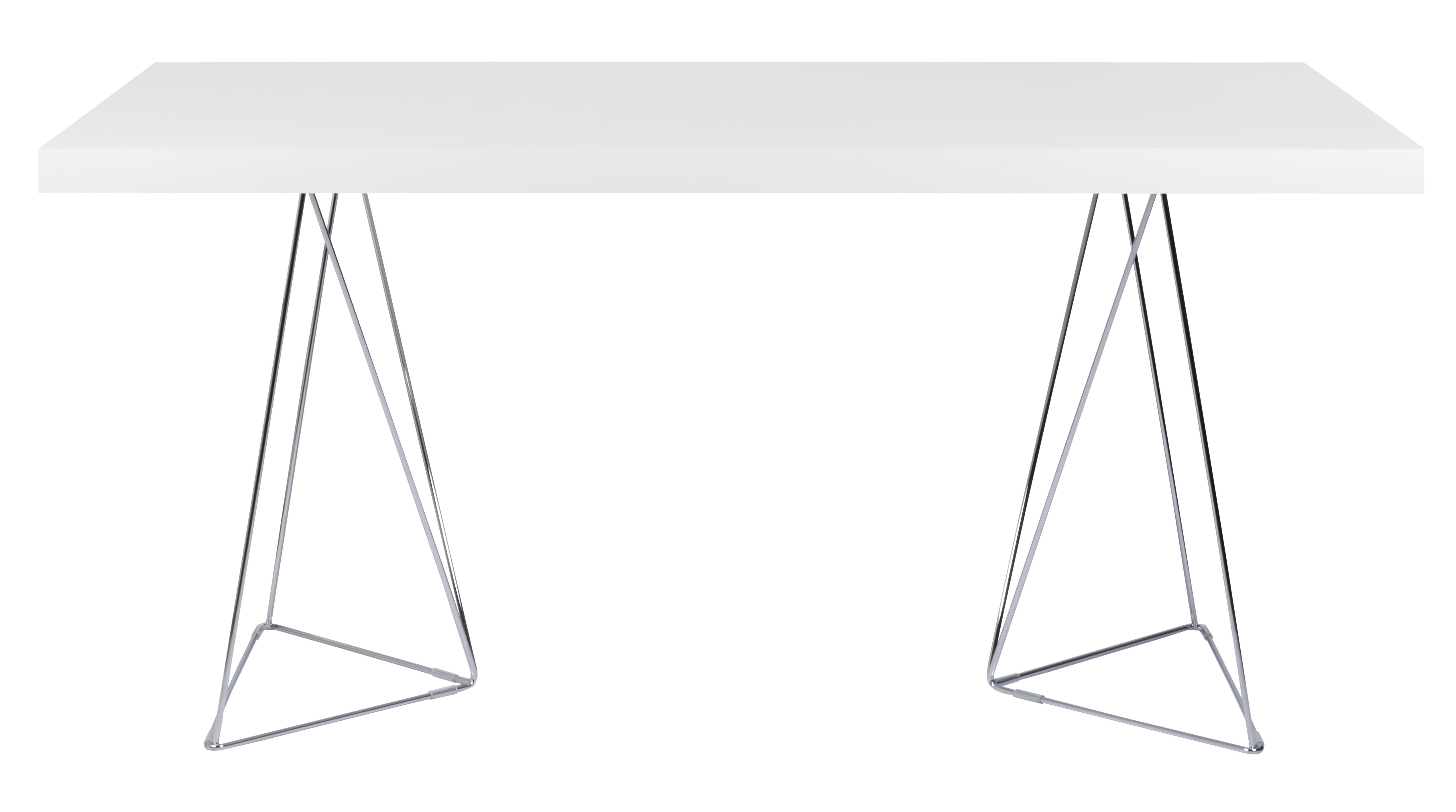 Möbel - Büromöbel - Trestle rechteckiger Tisch / L 160 cm - POP UP HOME - L 160 cm / weiß & chrom-glänzend - Spanplatte, verchromtes Metall