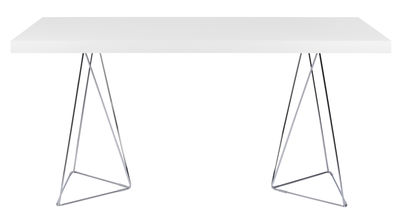 Furniture - Office Furniture - Trestle Table - L 160 cm by POP UP HOME - L 160 cm / White & chromed - Chromed metal, Honeycomb panels