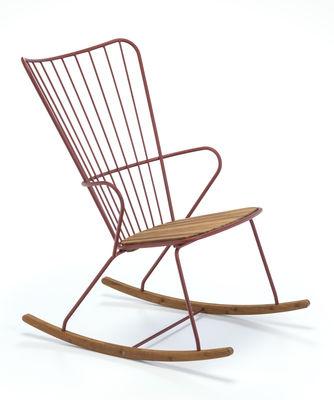 Rocking chair Paon Métal bambou Houe paprika,bambou naturel en métal