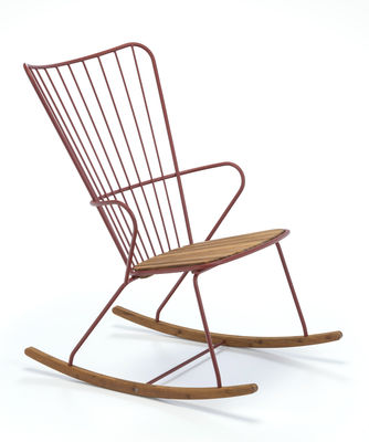 Rocking chair Paon / Métal & bambou - Houe rose/orange/bois naturel en métal/bois