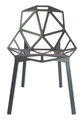 Interni - Cestini - Sedia impilabile Chair One - / Metallo di Magis - Grigio-verde / Piedi grigio-verde - alluminio verniciato, Ghisa di alluminio verniciata