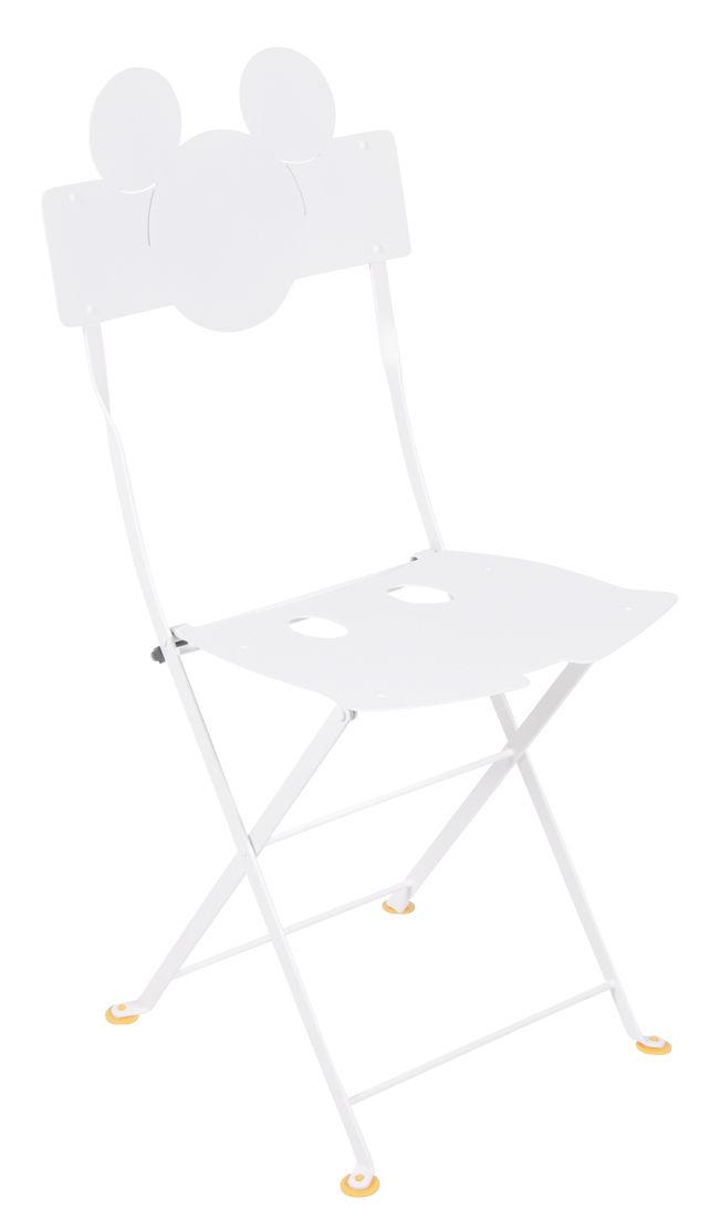 Arredamento - Sedie  - Sedia pieghevole Bistro Mickey - / Metallo di Fermob - Bianco cotone - Acciaio laccato
