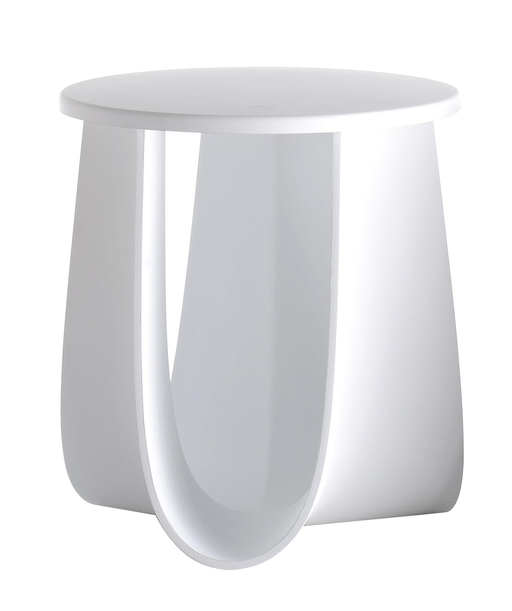 Arredamento - Tavolini  - Sgabello Sag / Tavolo H 44 cm - Seduta poliuretano - MDF Italia - Bianco - Poliuretano