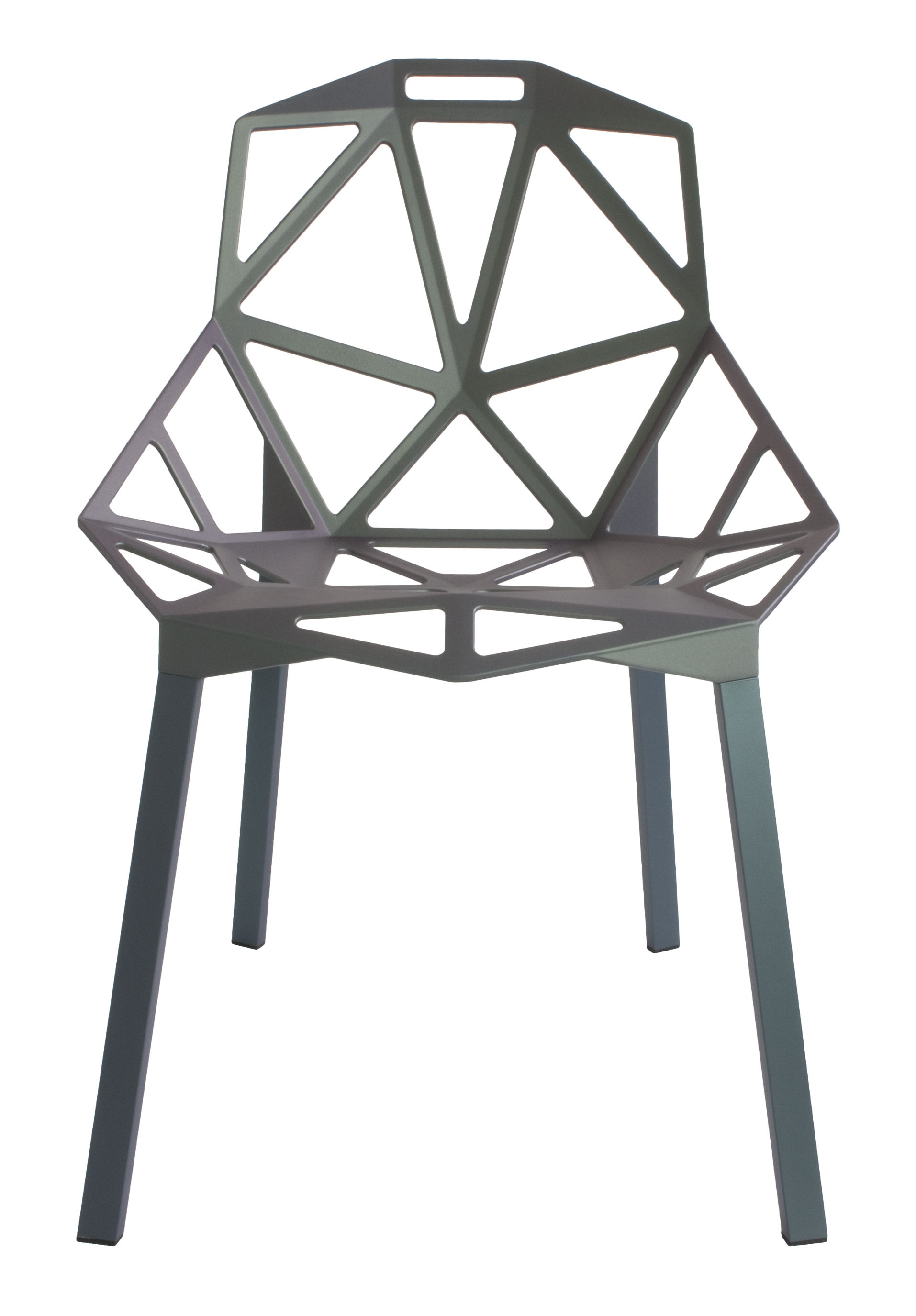 Furniture - Chairs - Chair One Stacking chair - / metal by Magis - Grey-green / Grey-green feet - Painted cast aluminium, Varnished aluminium