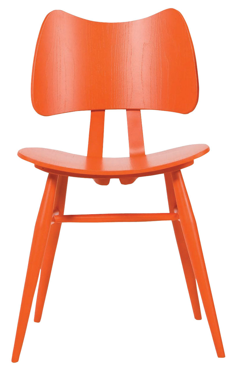 Möbel - Stühle  - Butterfly Stuhl / Neuauflage des Originals aus dem Jahr 1958 - Ercol - Mandarine - Contreplaqué de orme, massive Buche
