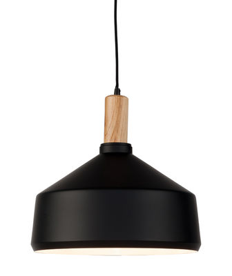 Luminaire - Suspensions - Suspension Melbourne Large /Ø 35 x H 34 cm - Métal & bois - It's about Romi - Large / Noir & bois - Acier peint, Hévéa