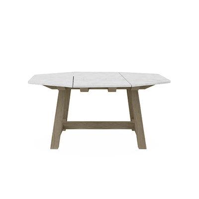 Table carrée Rafael Octogonal / 160 x 160 cm - Marbre & teck décapé - 8 personnes - Ethimo blanc en pierre
