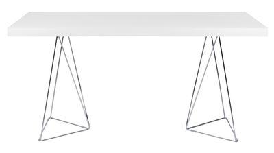Mobilier - Bureaux - Table rectangulaire Trestle / L 160 cm - POP UP HOME - Blanc / Pied chromé - Métal chromé, Panneaux d'aggloméré