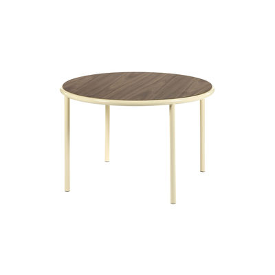 Table ronde Wooden / Ø 120 cm - Noyer & acier - valerie objects blanc/beige/bois naturel en bois