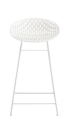 Tabouret haut Smatrik / Outdoor - H 65 cm - Kartell blanc en matière plastique