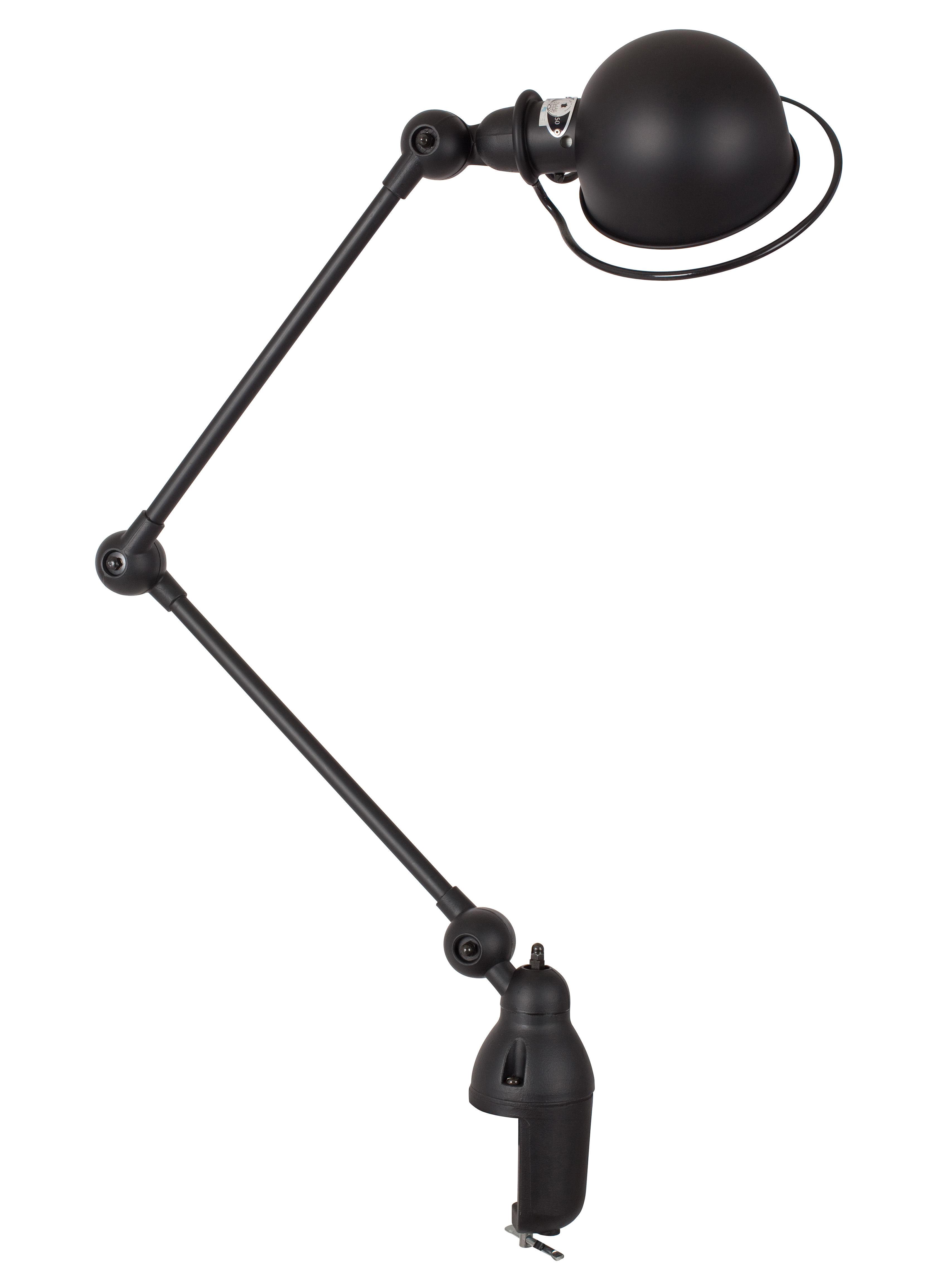 Leuchten - Tischleuchten - Loft Tischleuchte / Klemmlampe - mit 2 Gelenkarmen - H max. 80 cm - Jieldé - Schwarz, matt - rostfreier Stahl