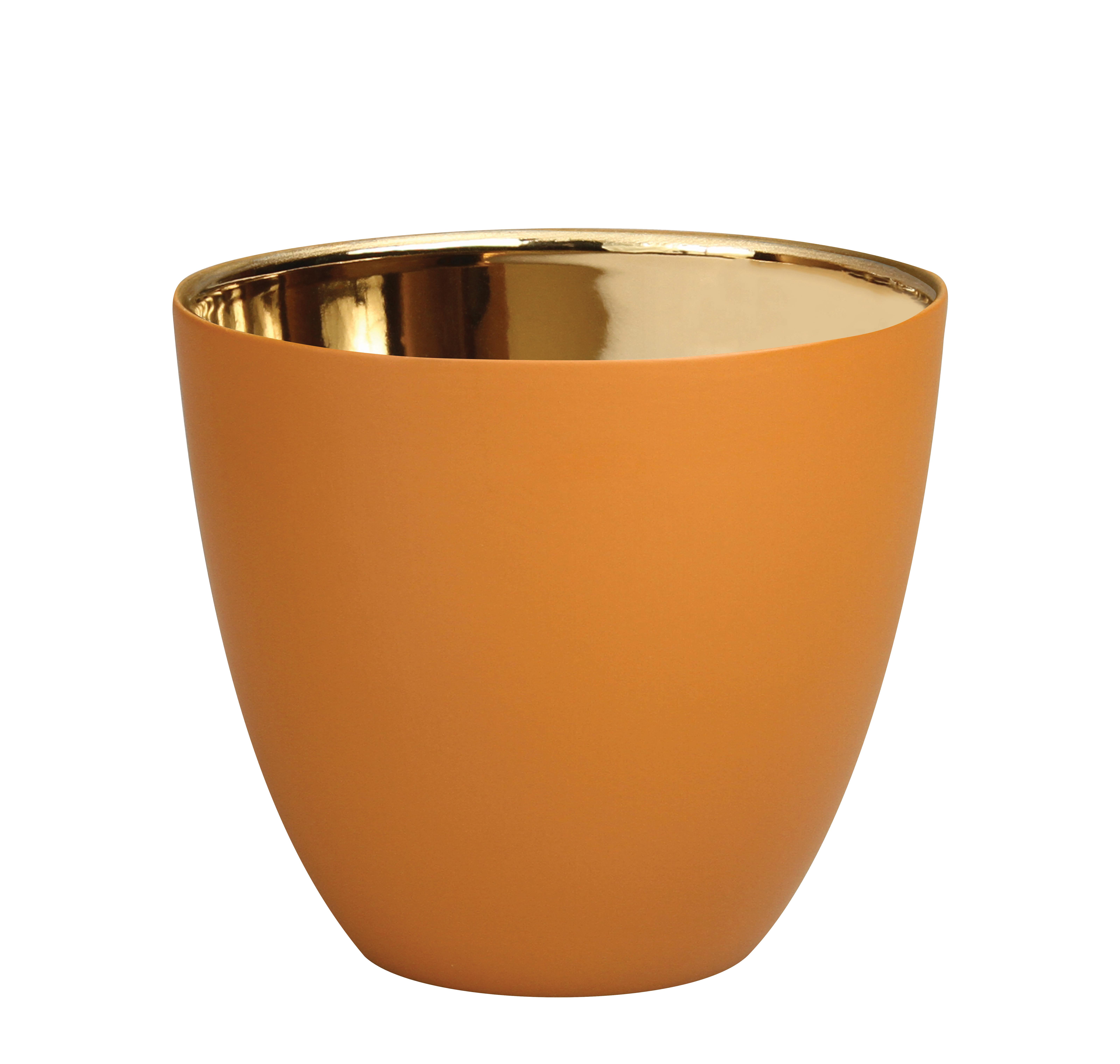 Dekoration - Kerzen, Kerzenleuchter und Windlichter - Summer Large Windlicht / H 8 cm - Porzellan - & klevering - Haselnuss / Gold - Porzellan