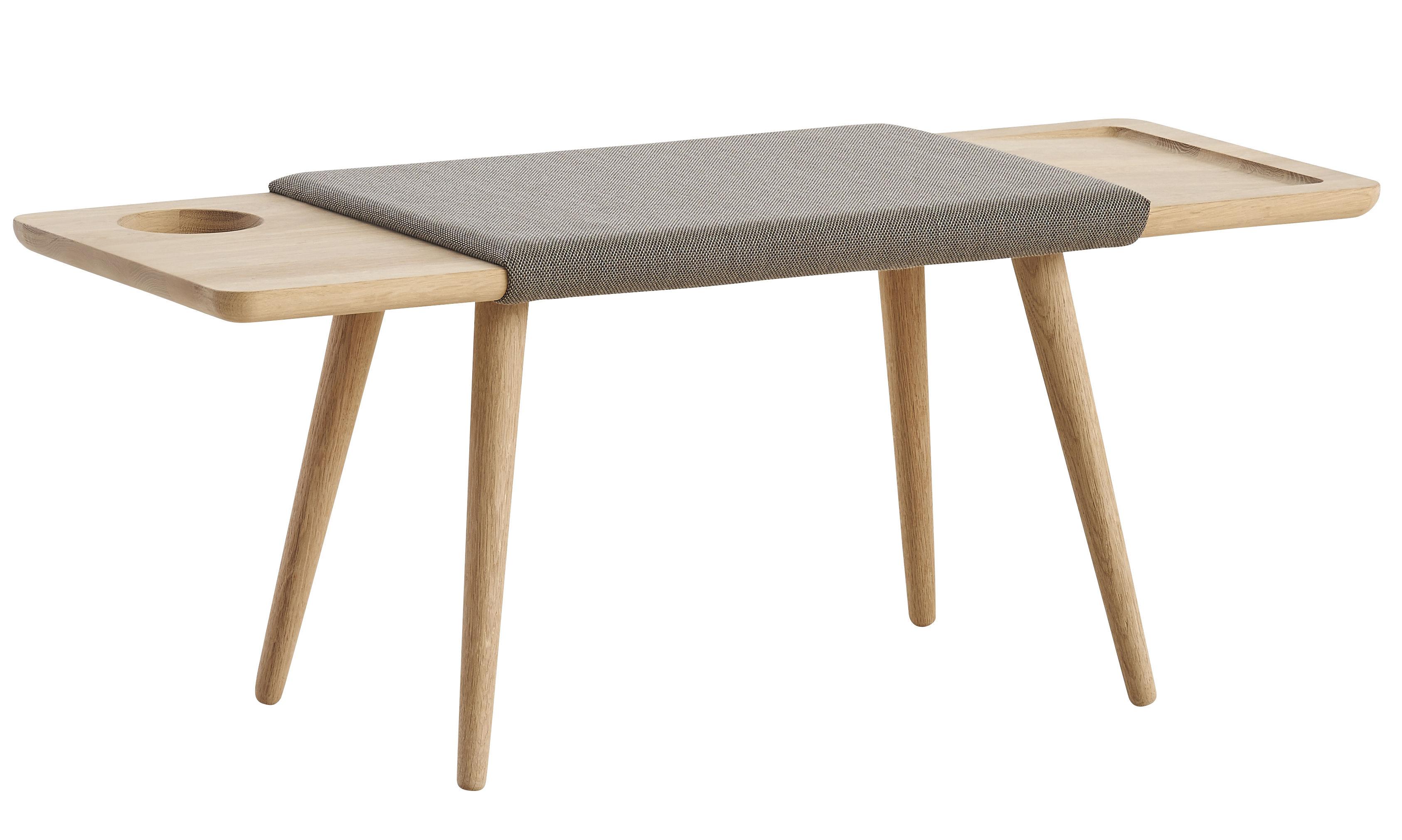 Mobilier - Bancs - Banc Baenk / L 110 cm - Chêne & tissu - Woud - Chêne / Tissu beige - Chêne massif savonné, Mousse, Tissu Gabriel