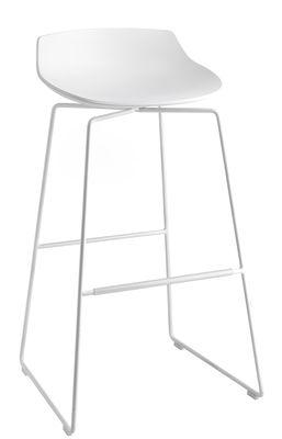 Furniture - Bar Stools - Flow Bar stool - H78  - Sledge leg by MDF Italia - White / White leg - Painted steel, Polyurethane