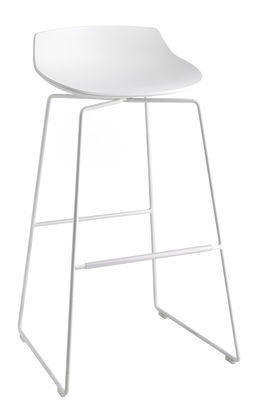 Möbel - Barhocker - Flow Barhocker / H 78 cm - mit Kufengestell - MDF Italia - Weiß / Fußgestell weiß - bemalter Stahl, Polyurhethan