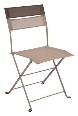 Mobilier - Chaises, fauteuils de salle à manger - Chaise pliante Latitude / Toile - Fermob - Muscade - Bandeau rouille - Acier laqué, Toile polyester