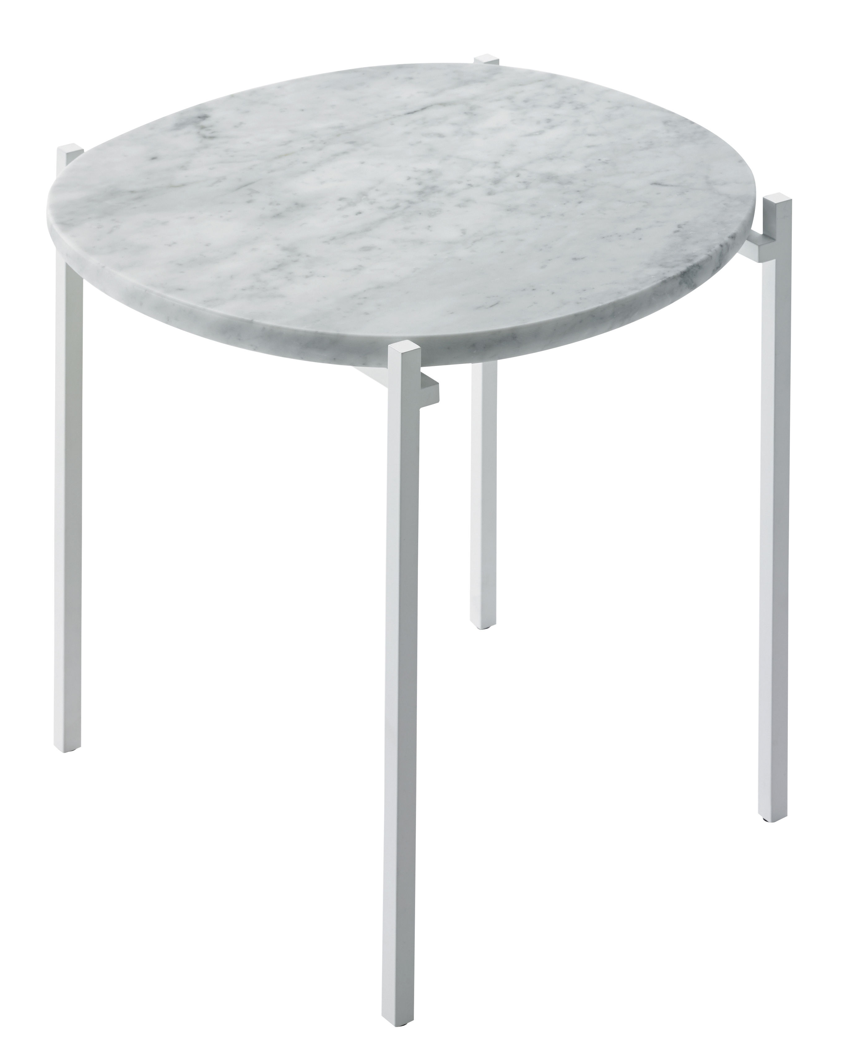 Furniture - Coffee Tables - Niobe End table - Marble/ 48 x 46 cm by Zanotta - White marble / White leg - Varnished steel, White Carrara marble