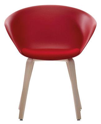 Chaise Duna 02 / Pieds bois - Coussin d´assise - Arper rouge,chêne blanchi en matière plastique