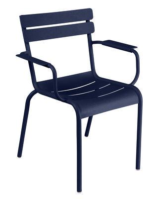Mobilier - Chaises, fauteuils de salle à manger - Fauteuil empilable Luxembourg / Aluminium - Fermob - Bleu abysse - Aluminium laqué