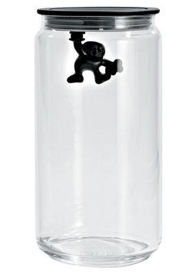 Tischkultur - Boxen und Töpfe - Gianni a little man holding on tight hermetisch verschließbares Glas luftdicht - 140 cl - A di Alessi - Schwarz / 140 cl - Glas, thermoplastisches Harz