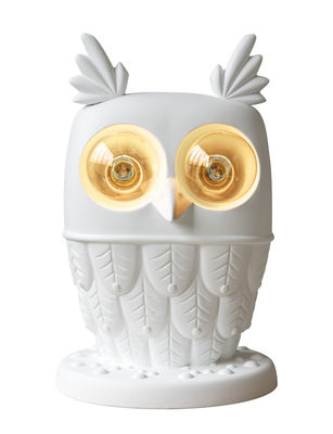 Luminaire - Lampes de table - Lampe de table Ti-vedo / Hibou céramique - H 41 cm - Karman - Blanc - Céramique brute