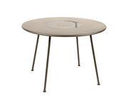 Table ronde Lorette Ø 110 cm Métal perforé Fermob muscade en métal