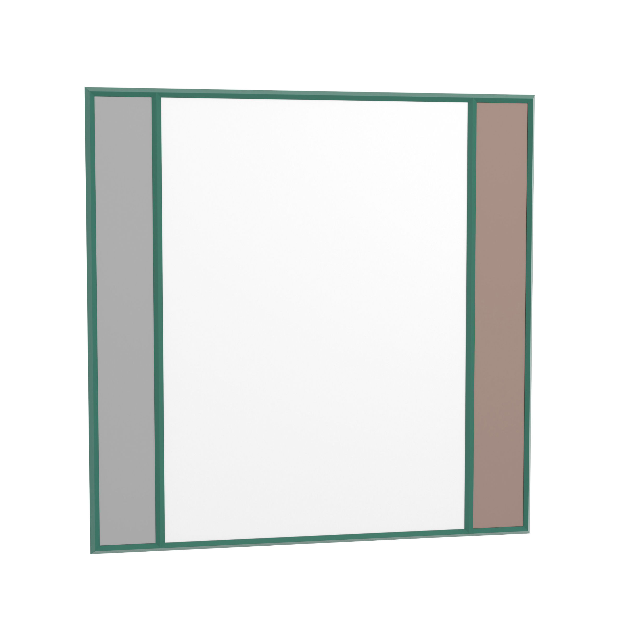 Déco - Miroirs - Miroir mural Vitrail / 50 x 50 cm - Magis - Cadre vert / Beige & gris - Caoutchouc, Verre