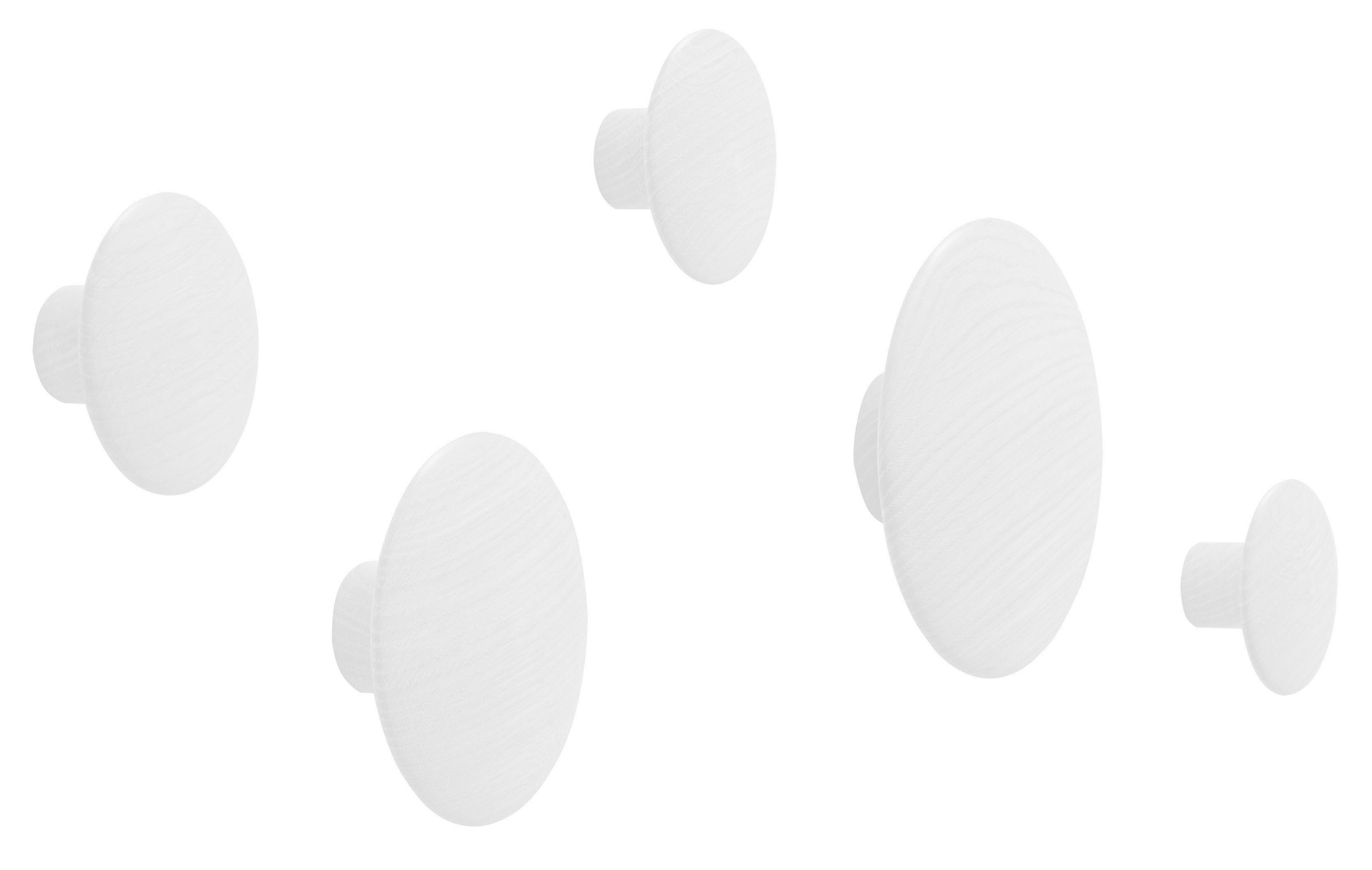 Mobilier - Portemanteaux, patères & portants - Patère The dots / Set de 5 - Muuto - Blanc - Frêne peint