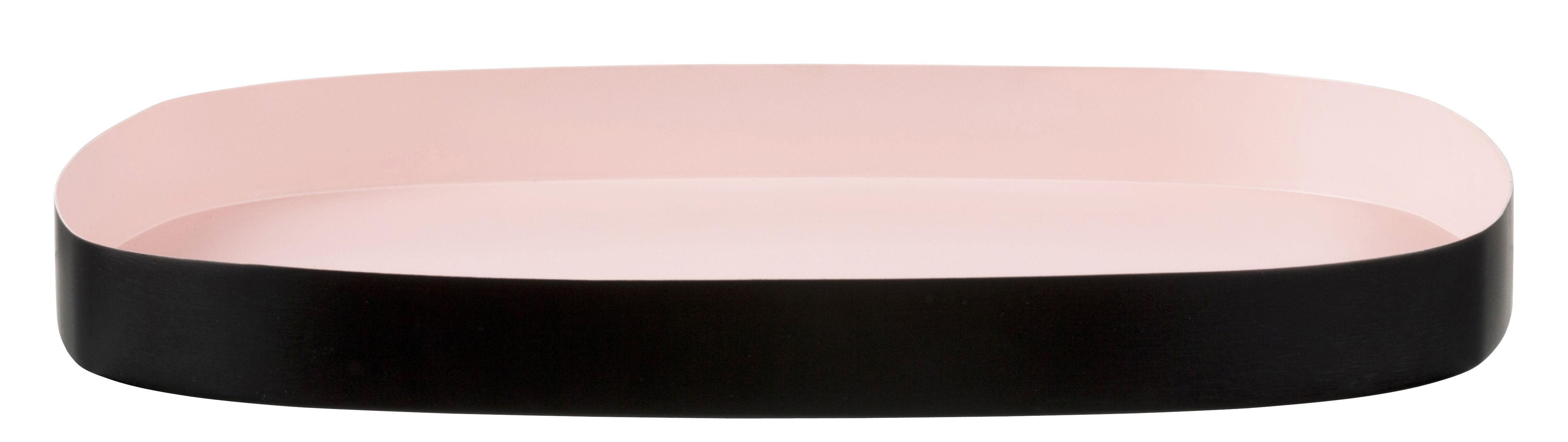 Arts de la table - Plateaux - Plateau Television Large / 33 x 29 cm - Design Letters - Rose / Noir - Acier peint