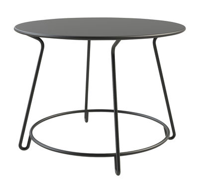 Outdoor - Garden Tables - Huggy Round table - Ø 100 cm  by Maiori - Ø 100 cm - Graphite grey - Lacquered aluminium