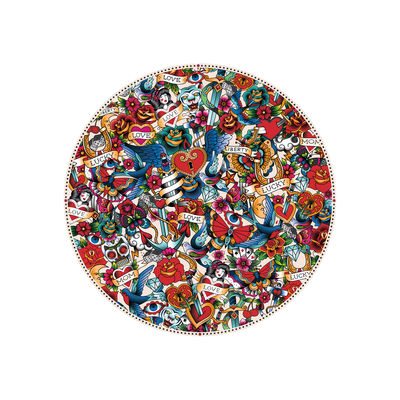 Set de table Tatoo / Ø 38 cm - Vinyle - PÔDEVACHE multicolore en matière plastique