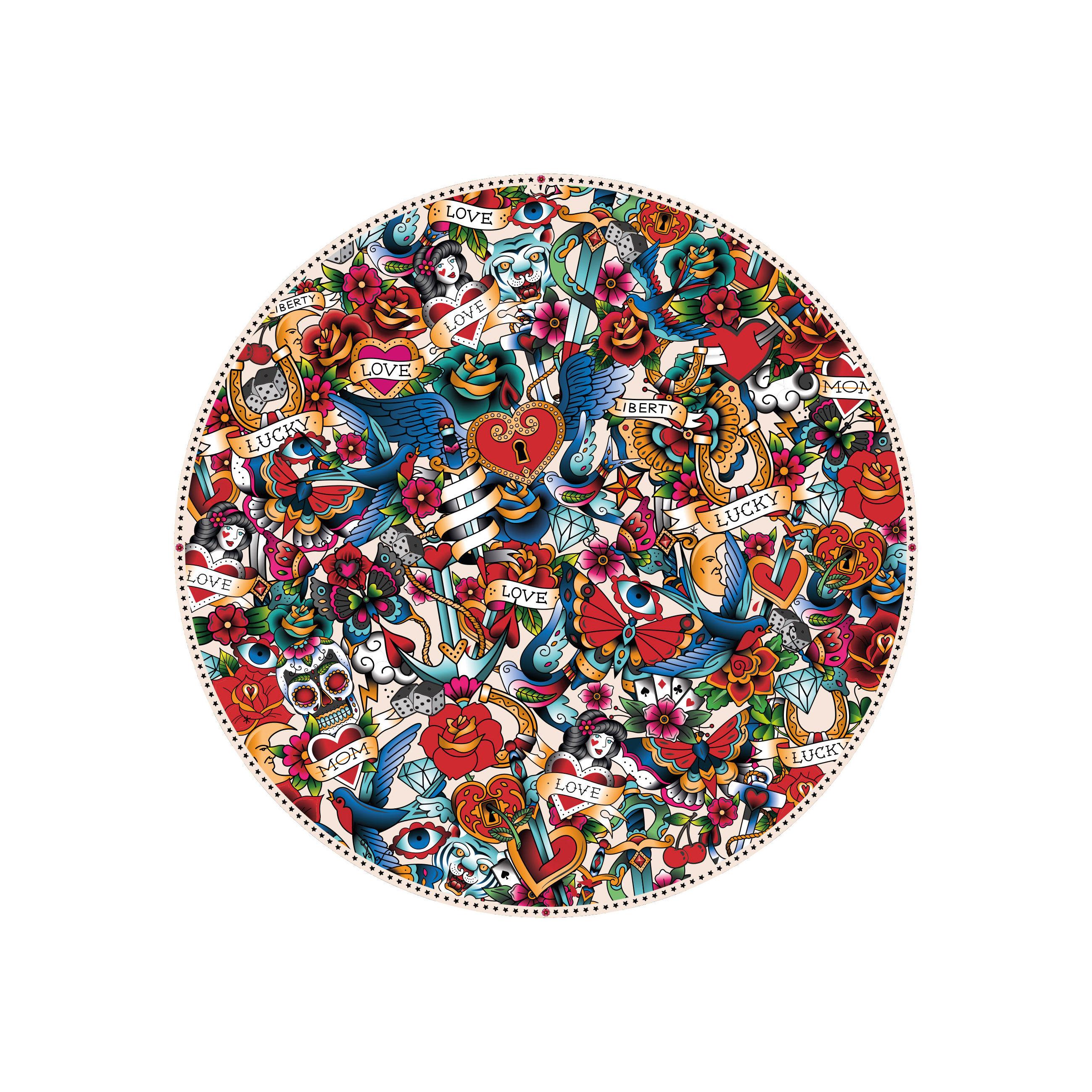 Arts de la table - Nappes, serviettes et sets - Set de table Tatoo / Ø 38 cm - Vinyle - PÔDEVACHE - Tatoo / Multicolore - Vinyle