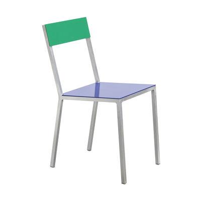 Möbel - Stühle  - Alu Stuhl - valerie objects - Sitzfläche dunkelblau / Rückenlehne grün - Aluminium