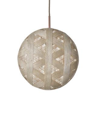 Luminaire - Suspensions - Suspension Chanpen Hexagon / Ø 36 cm - Forestier - Beige / Motifs triangles - Abaca tissé