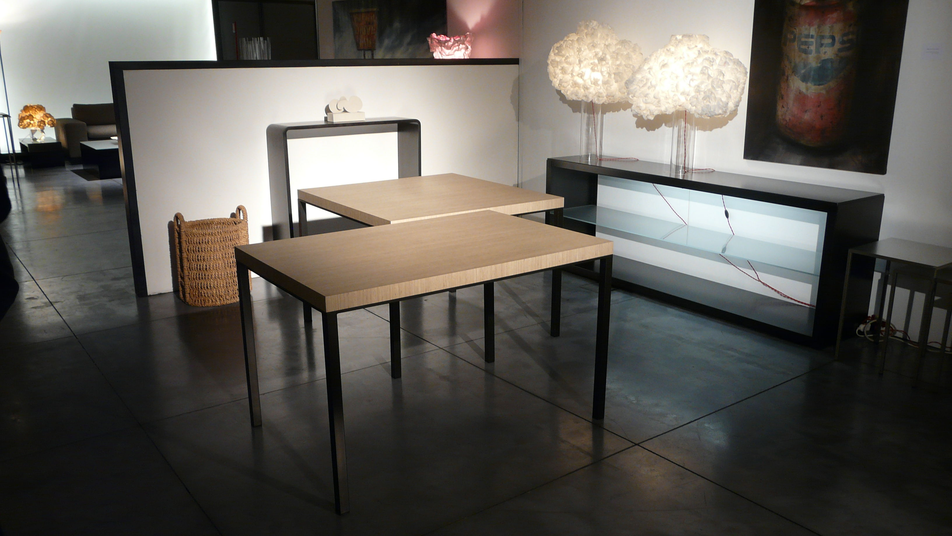 Table big brother 100 x 100 cm bois clair et noir cuivré 100 x
