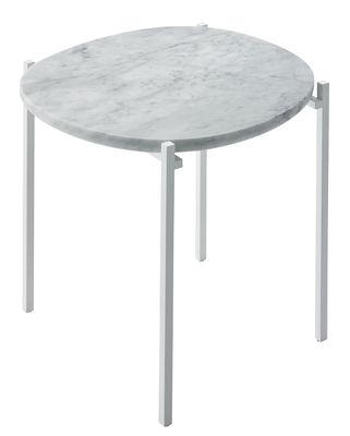 Arredamento - Tavolini  - Tavolino d'appoggio Niobe - / Marmo - 48 x 46 cm di Zanotta - Marmo bianco / Struttura bianca - Acciaio verniciato, Marmo bianco di Carrara