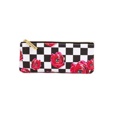 Accessori moda - Borse, Valigie e Portafogli - Trousse Toiletpaper - / Roses on check - Tessuto di Seletti - Roses on check - Poliestere, Poliuretano