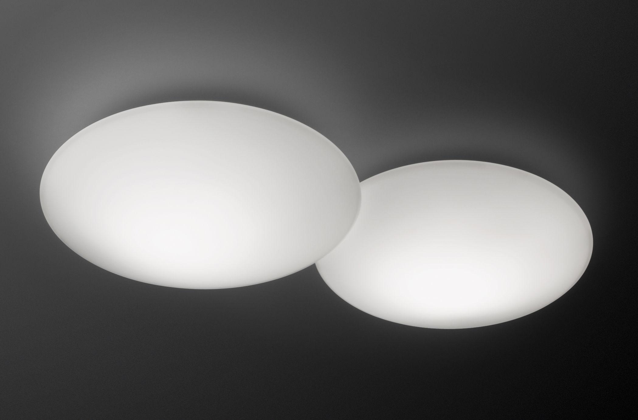 Luminaire - Appliques - Applique Puck Double LED / Plafonnier - Vibia - Blanc - Verre soufflé