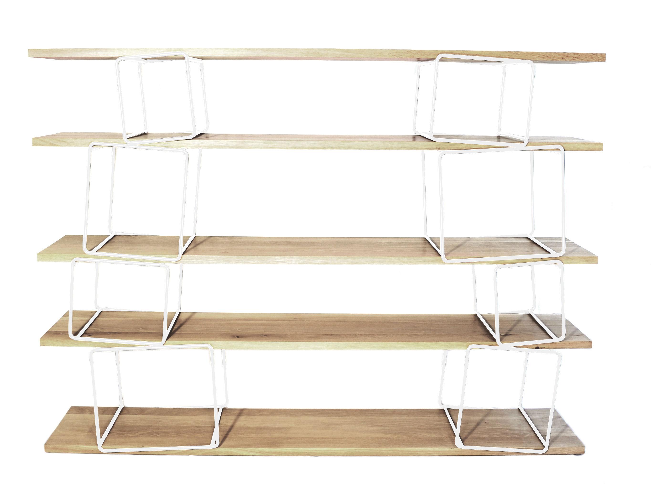 Mobilier - Etagères & bibliothèques - Bibliothèque Quake modulable - L 166 x H 130 cm - ENOstudio - Modules blancs / Etagères Hêtre - Hêtre massif, Métal