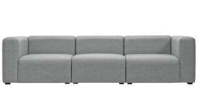 Mobilier - Canapés - Canapé droit Mags 3 places / L 266 cm - Tissu Surface - Hay - Gris clair - Bois, Mousse de polyuréthane, Tissu Kvadrat