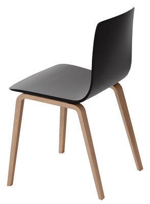 Furniture - Chairs - Aava Chair - Wood legs by Arper - Black / Wood legs - Natural birch, Polypropylene