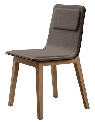 Mobilier - Chaises, fauteuils de salle à manger - Chaise rembourrée Laia / Feutre de laine - Alki - Taupe / Piètement chêne naturel - Chêne, Laine, Mousse, Multiplis de hêtre