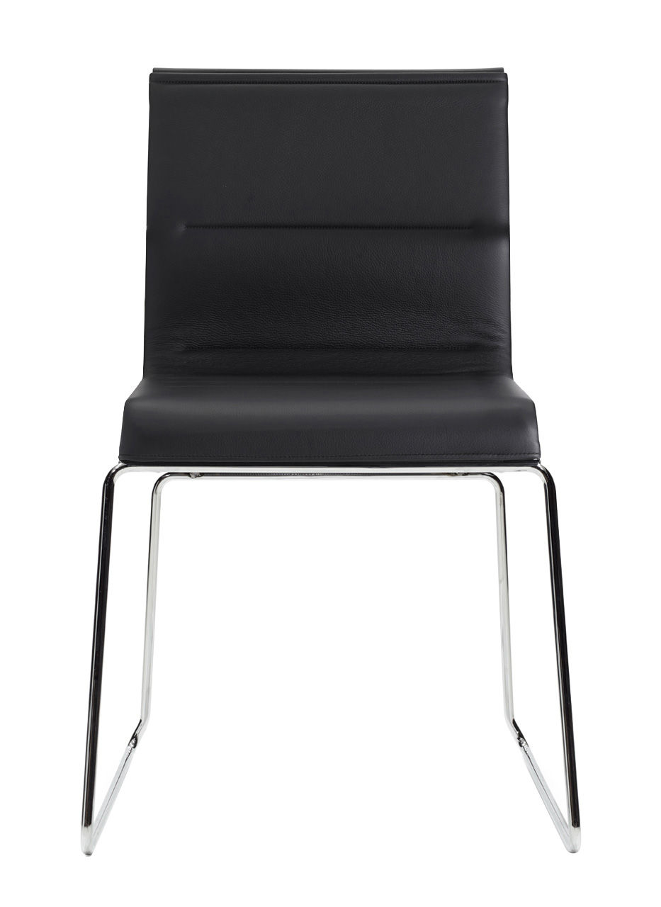 Mobilier - Chaises, fauteuils de salle à manger - Chaise rembourrée Stick Chair / Assise cuir - ICF - Cuir noir / Base chrome - Acier, Aluminium, Cuir