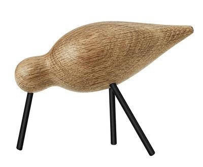 Décoration Oiseau Shorebird M / L 15 x H 11 cm - Normann Copenhagen noir,chêne naturel en bois