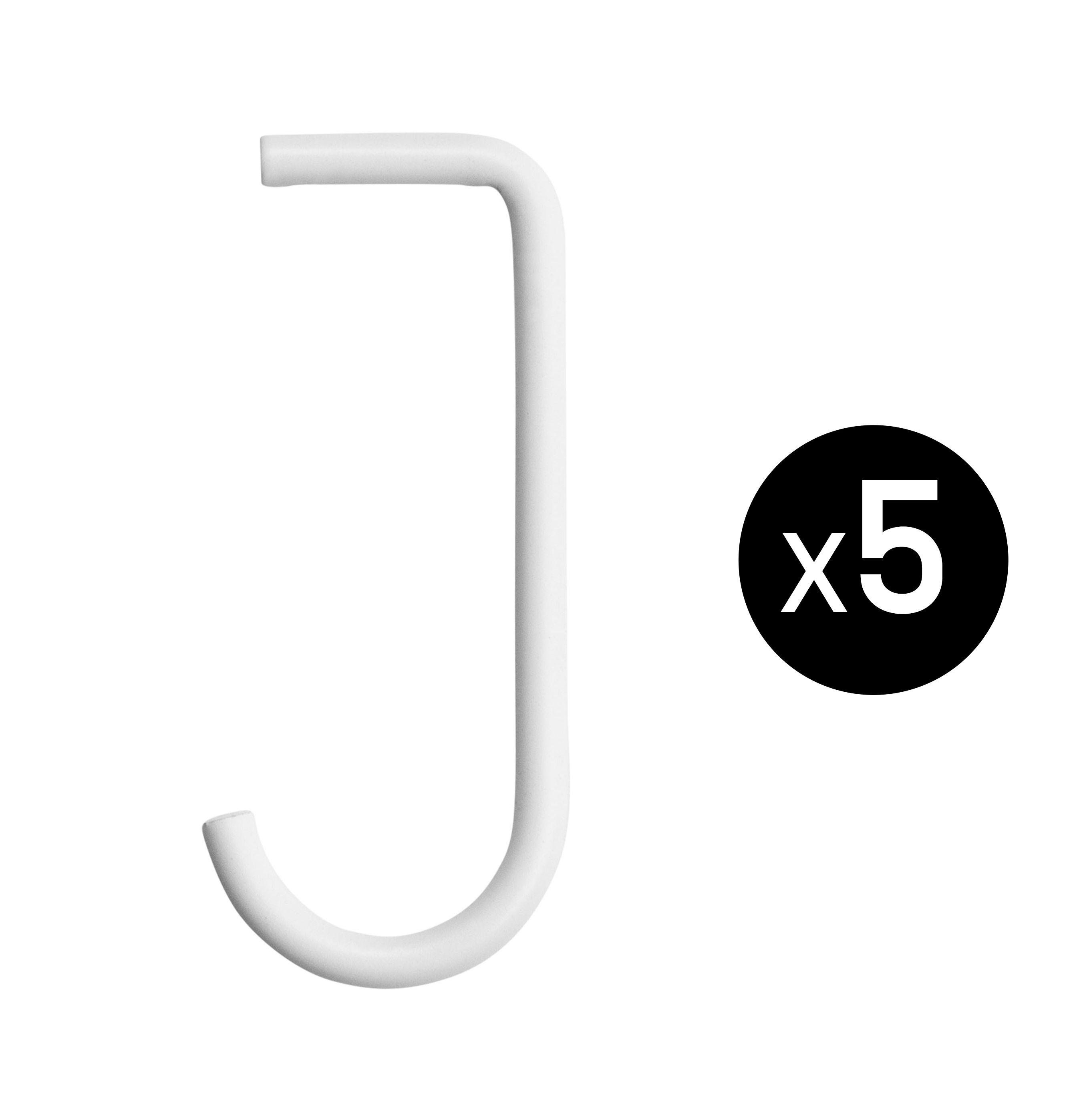 Arredamento - Scaffali e librerie - Gancio - / Per mensole in metallo traforato - Set da 5 di String Furniture - Bianco - metallo laccato