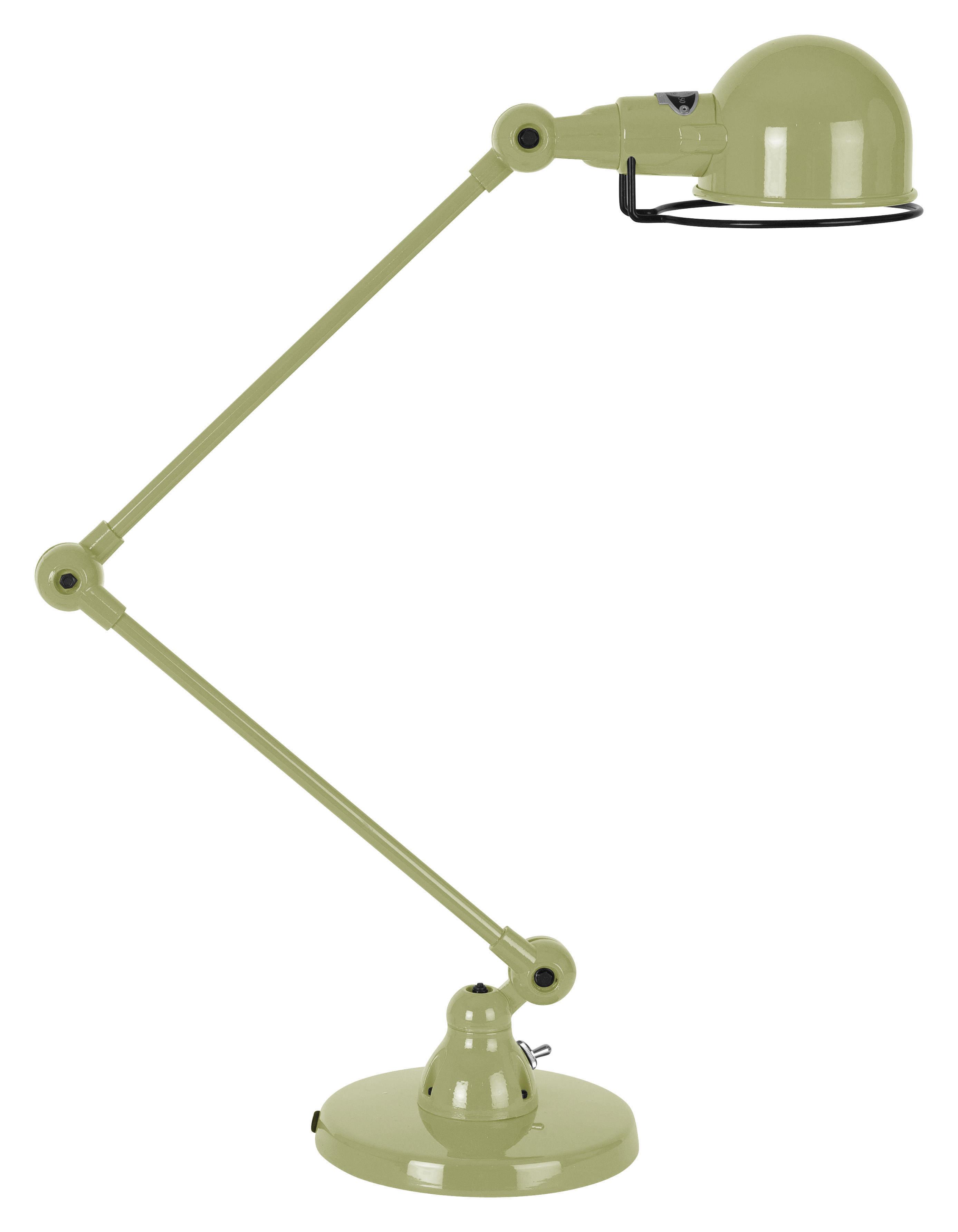 Luminaire - Lampes de table - Lampe de table Signal / 2 bras - H max 60 cm - Jieldé - Kaki brillant - Acier inoxydable